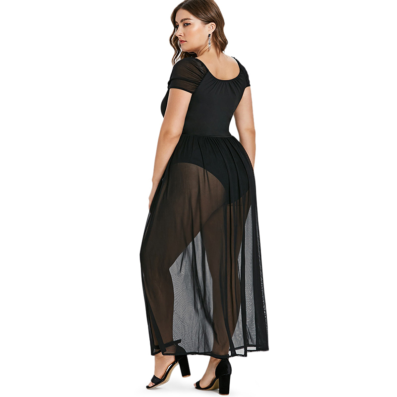 PlusMiss Plus Size Sexy See Through Mesh Party Dresses Women Big Size Black  Chiffon Lace Maxi Long Dress Night Club Robe Femme-in Dresses from Women s  ... 8aeb3b51ff70