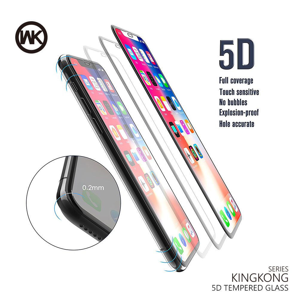 WK DESIGN Screen Protector For IPhone X XS MAX 8 7 6 6S Plus Tempered Glass 9H Toughened 5D Curved Protective Glass Front Film
