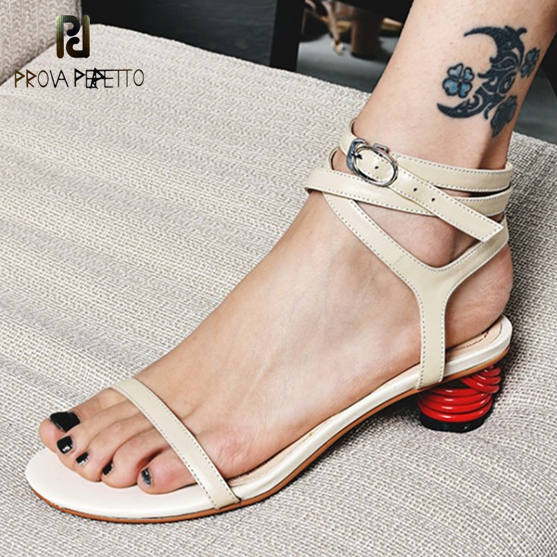 Prova Perfetto New Product Narrow Band Sandals Women Ankle Strap Red Strange Heels Shoes Ladies Hollow Out High Heels Sandals fashionable women s sandals with platform and hollow out design