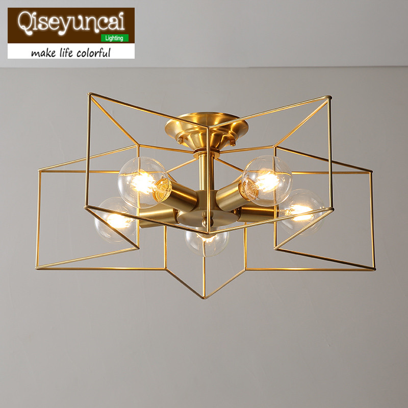 Здесь можно купить  Qiseyuncai 2018 new American Living Room Copper Ceiling Light Bedroom Simple Creative Stars Restaurant Aisle Corridor Lights  Свет и освещение