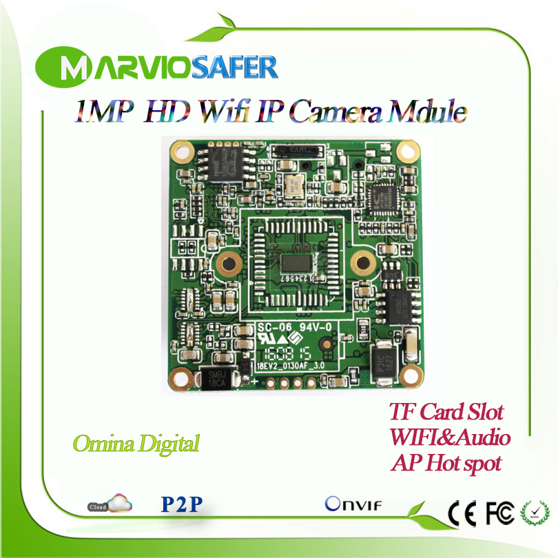 все цены на 1MP HD 720P wifi CCTV Network IP Camera Board Module wireless secrutity system board with Audio interface, Onvif TF Card Slot онлайн