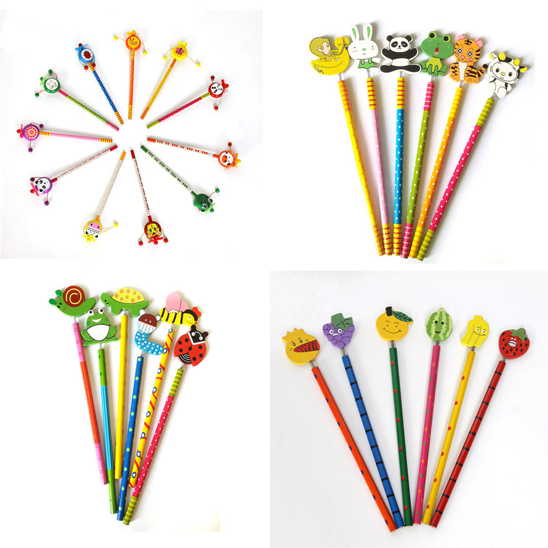 Hot 4 Styles Cartoon Creative Design Wood Pencils Drawing Pencil
