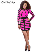 Plaid Print Sheath Women Bodycon Dress Latest Fashion Long Sleeve Crew Neck Short Autumn Dress Women
