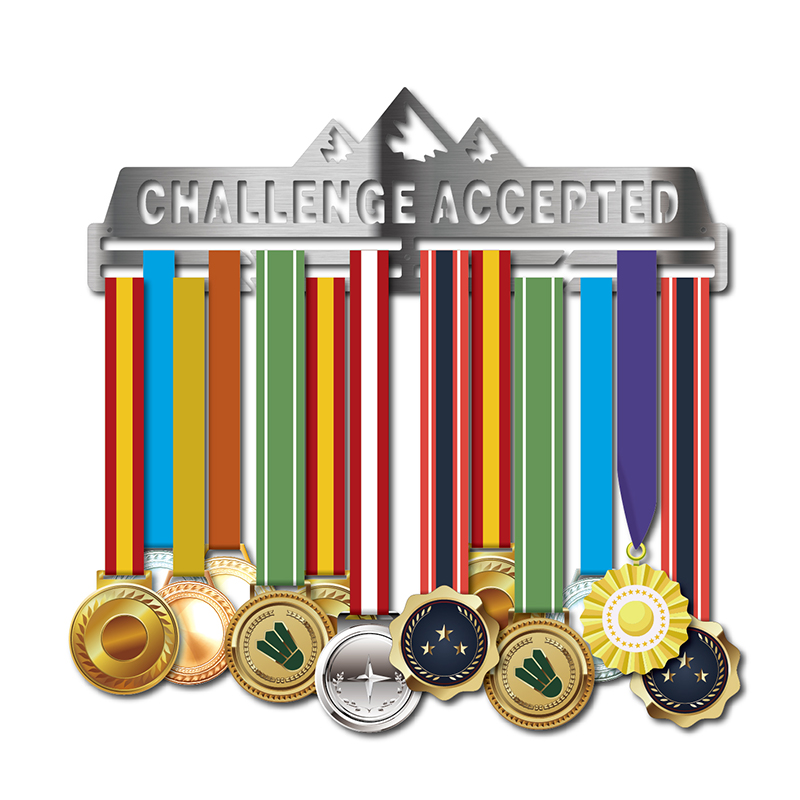 Medal hanger for Running Cycling Swimming Marathon Sport medal holder for 30 medals Challenge accepted medal
