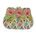 Luxury crystal clutch evening bags Rose flower sparkly women diamante bag colorful wedding banquet handbags prom bag SC040