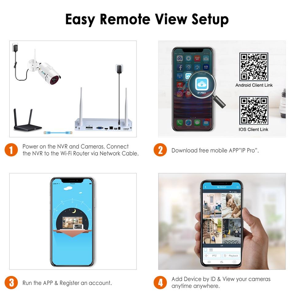 Zoohi Wireless Surveillance System Kit 1080P 2MP HD WIFI Camera Home Security Camera System Night Vision Video Surveillance Kit