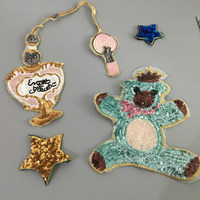 4pcs Set Bear And Star Sequined Patch For Dress DIY Garment Accessories Decoration Sequins Embroidery Applique