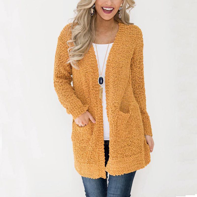 Autumn Winter Women Casual Long Sleeve Knitted Cardigans 2018 New Crochet Ladies Sweaters Fashion Long Cardigan Loose Coat