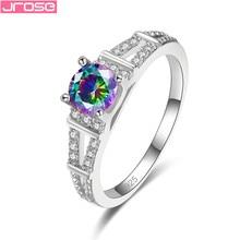 JROSE Luxury Brand White Crystal Multicolor Zircon Rings For Women Silver Eiffel Tower Shape Wedding Jewelry Exquisite Bijoux