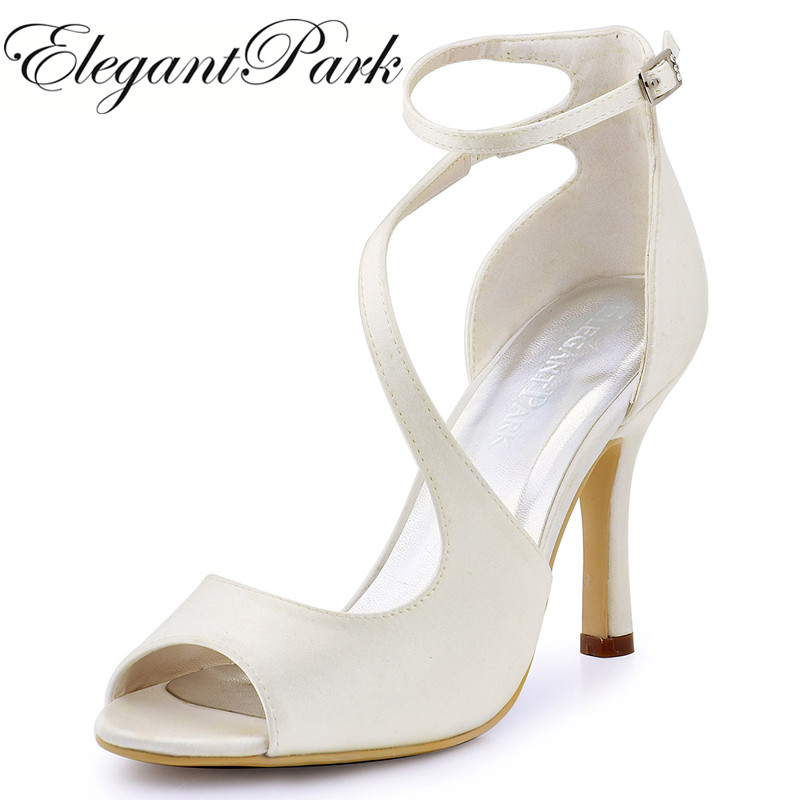 Ivory High Heels Summer Sandals Women Peep Toe Bridal Wedding Shoes Ankle Strap Gladiator Woman Ladies