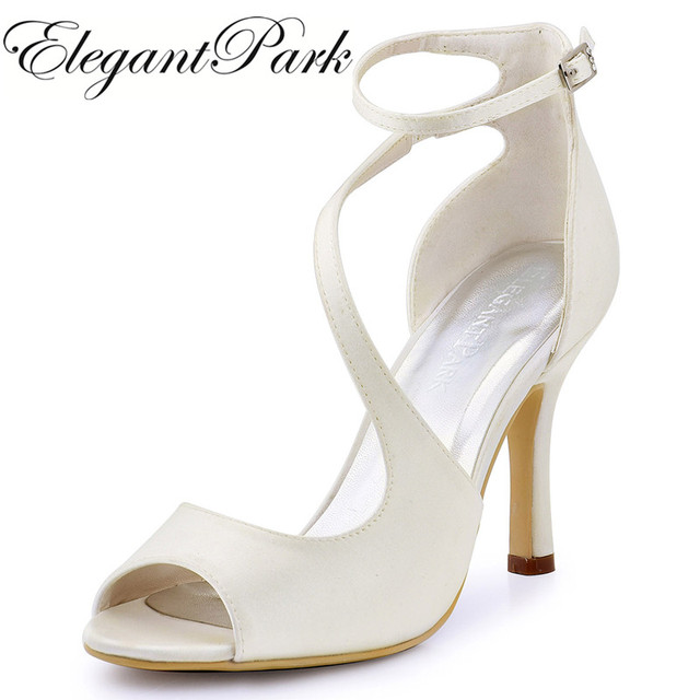 Women Sandals Ivory Wedding Bridal Shoes Ankle Strap High Heel Bride  Bridesmaid Sexy Evening Party Pumps