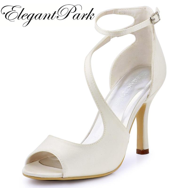 Mujeres sandalias de verano de marfil boda nupcial correa del tobillo - Zapatos de mujer
