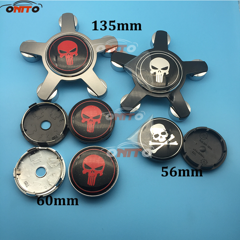 Car Styling 4pcs 56mm 60mm 135mm Skull logo Wheel Dust-proof emblem covers for A1 A2 A3 A4 A5 A6 A7 A8 Q1 Q3 Q5 Q7 TT R8 S RS
