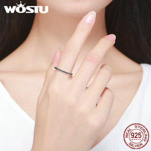 Image 5 - WOSTU Authentic 925 Sterling Silver Finger Stackable Rings With Black CZ For Women Fashion Jewelry Fine Gift FIR114