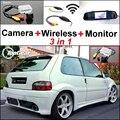 3 in1 Especial Cámara de Visión Trasera Sistema de Aparcamiento Inalámbrico + Receptor + Monitor Del Espejo DIY Fácil Para Citroen Saxo