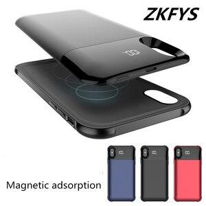 Image 2 - Zkfys 5000 7000mahワイヤレス充電磁気iphone 5 x xsバッテリー充電器ケースバックアップ電源銀行充電カバー