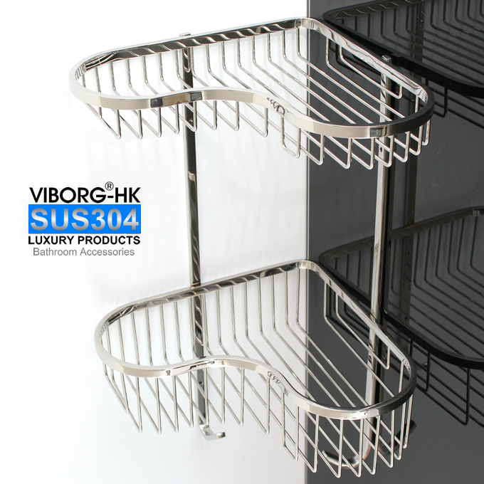 VIBORG Deluxe 304 Stainless Steel Double Tiers Corner Shower Basket Shelf Tidy Rack Caddy Storage Organizer,brushed black bathroom shelves stainless steel 2 tier square shelf shower caddy storage shampoo basket kitchen corner shampoo holder