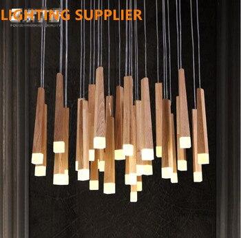 Винтажные подвесные светильники, деревянные подвесные светильники, современные люстры de led для внутреннего освещения, светильники для дома...