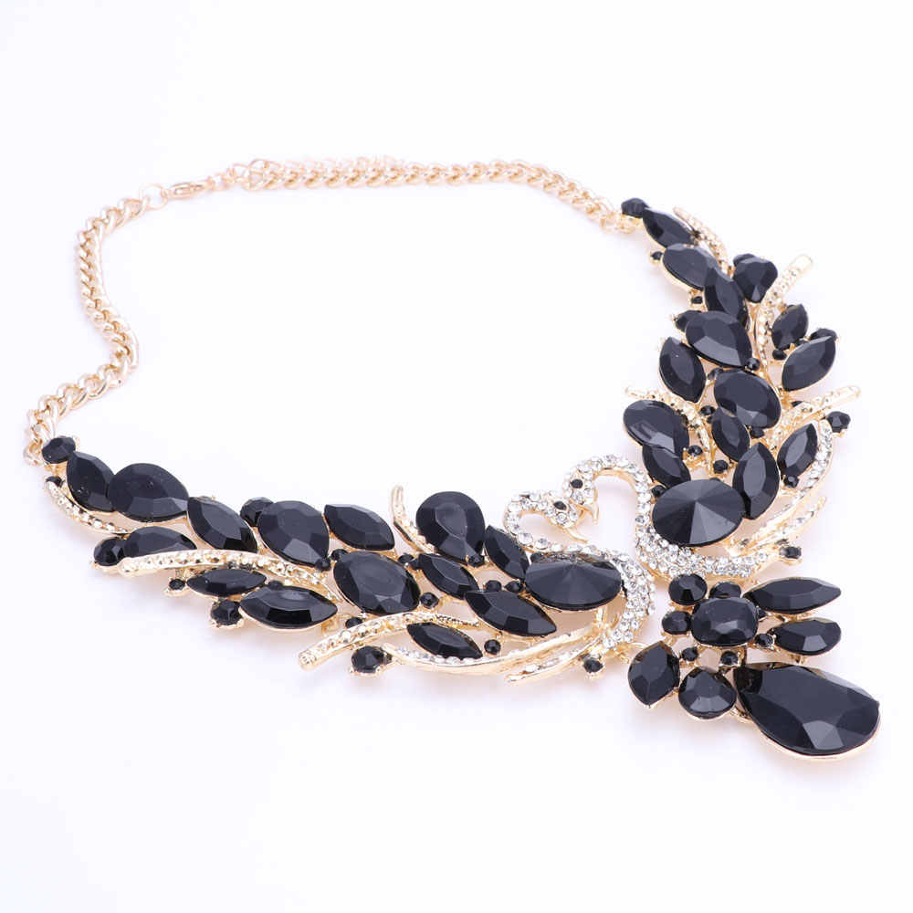 ... Black Crystal Bridal Jewelry Sets Gold Color Swan Pendant Necklace  Women Gift Party Wedding Prom Necklace ...