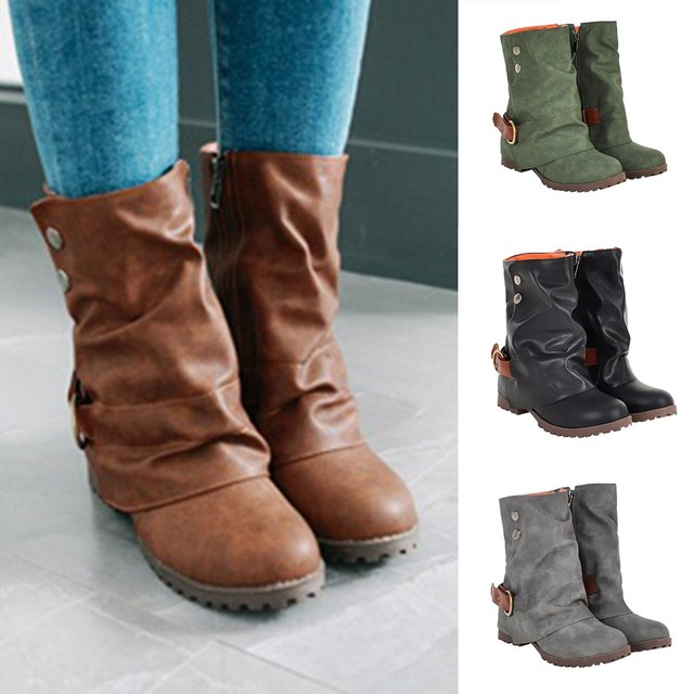 2018 new Fashion Warm Short Leather Boots Women Buckle Artificial Leather  Patchwork Shoes ankle boots para mulheres salto  8 ff546f334