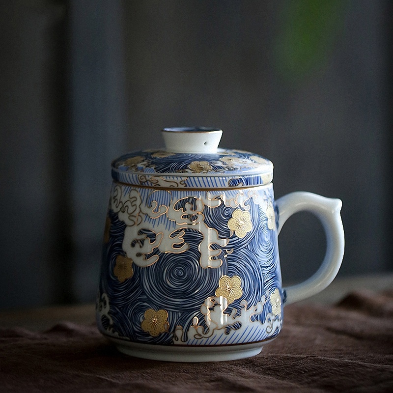 PINNY 330ml STARRY NIGHT Color Enamel Mugs Hand Made Ceramic Teacups High Quality Chinese Tea Mug