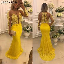 JaneVini 2019 Elegant Lace Yellow Mermaid Prom Dress Sheer Scoop Neck Appliques Beads Long Sleeve Party Dresses Bestidos De Gala