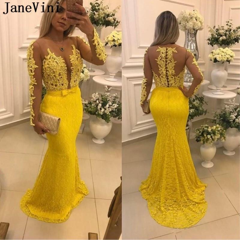 Vestido de Baile de Sereia Bestidos de Gala Janevini Elegante Renda Amarelo Gola Apliques Miçangas Manga Longa 2020