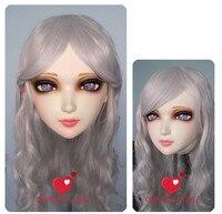 (GL006) Kadın Tatlı Kız Reçine Yarım Baş Kigurumi BJD Maske Cosplay Japon Anime Rol Lolita Gerçekçi Gerçek Maske Crossdress Doll