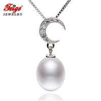 FEIGE Moon shaped Real 925 Sterling Silver Necklaces & Pendants with 8 9mm Rice Natural Cultured Pearls For Women's Fine Jewelry