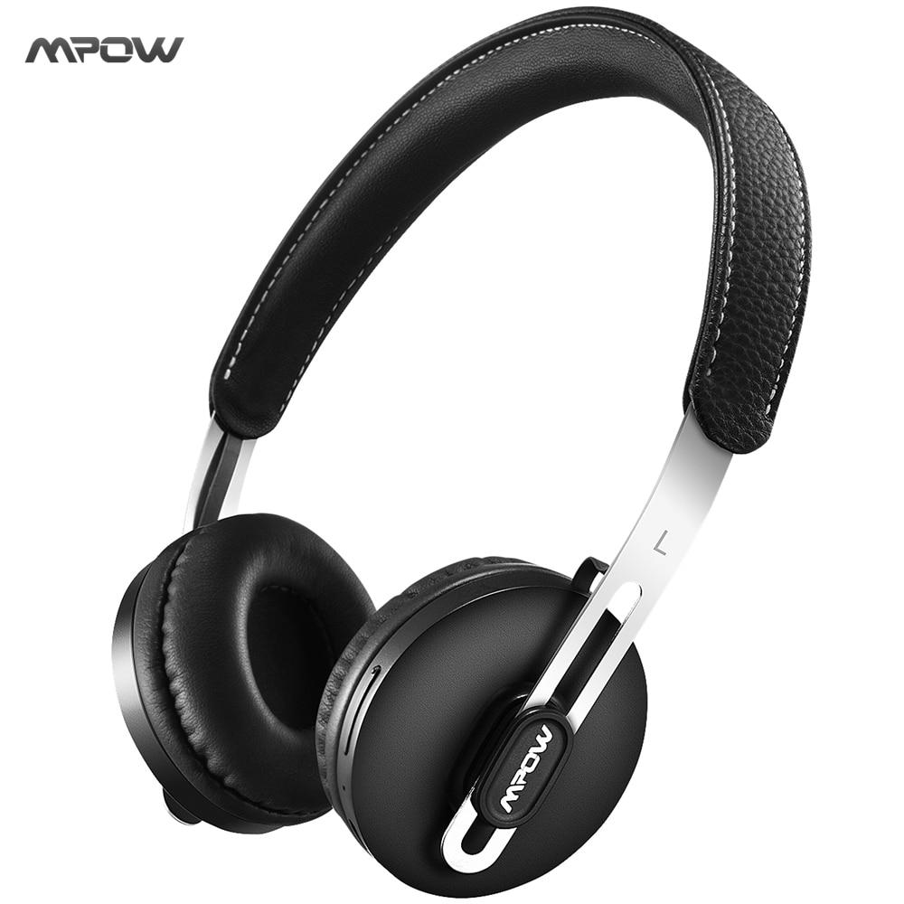 MPOW Bluetooth Headphones Wireless Headphone On-ear Headset w/ Protein Ear Pads, Adjustable Headband, AUX for Smart Phones наушники panasonic premium bluetooth wireless on ear headphones rp btd10e k