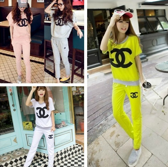 2015 New casual letter sports suit for women short sleeve t-shirt and pants cotton 6 colors size M-XL free shipping
