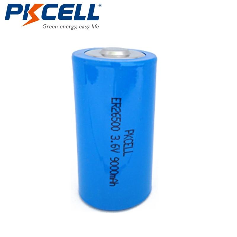 6pcs/lot PKCELL 3.6V ER26500 Lithium Battery 3.6 Volt 9000mAh C Size Li-SOCl2 Unrechargeable Batteries for Medical Devices