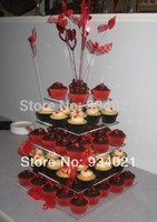 5 Tier Square Wedding Display Acrylic Perspex Cup Cake Stand