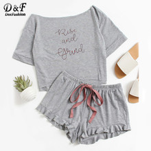 Dotfashion High Low Top And Frill Hem Shorts Pajama Set Women Letter Set Two Piece 2019 Grey Boat Neck Long Sleeve Pajama Set(China)