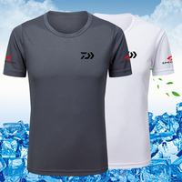Summer Short Sleeve Black Fishing Clothing Men Ice Silk Fishing T shirt Quick Dry Breathable Outdoor Cycling Fishing Clothes