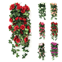 Artificial Rose Garland Silk Flower Vine Ivy Home Wedding Garden Decoration P15