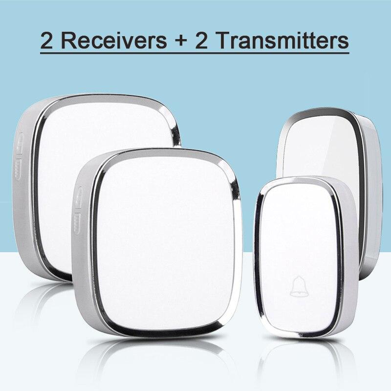 New White Wireless Doorbell Waterproof Smart 36 Melody LED flashing Ring Door Bell AC220V 2 Push Doorbells Button +2 Receivers