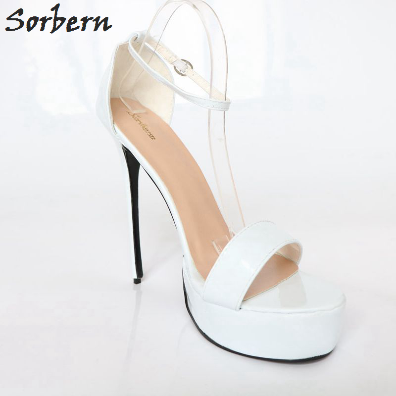 Sorbern Custom Sandales Dames blanc Mujer Color Sexy Mince Blanc Haut 2018 Chaussures Plate Cheville Femmes forme Bretelles Sandalias Stilettos Extreme Talon xwBxXfnU
