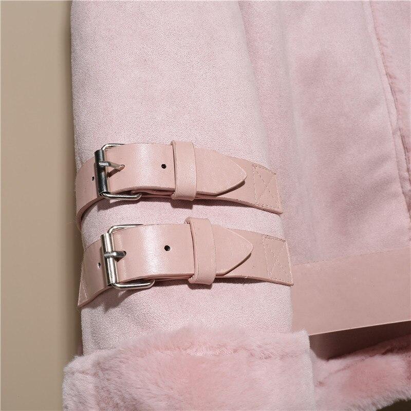 Manches Laine De Et À Mode rose Manteau Hiver Femmes Longues Polaire Début Face gris Court Noir Printemps Vêtements Fourrure Chaud Nouvelle Double Du Au 7aqzwxq
