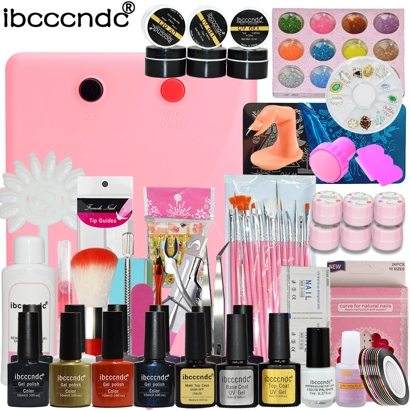 Pro Nail Art Set Manicure Tools 36W UV Lamp 10 Color Gel Polish Base Coat Matte Top with Remover False Nail Tips and Stickers nail gel polish tools pro 36w uv lamp 4 colors gel varnishes base and top coat nail art kits manicure set with polish remover