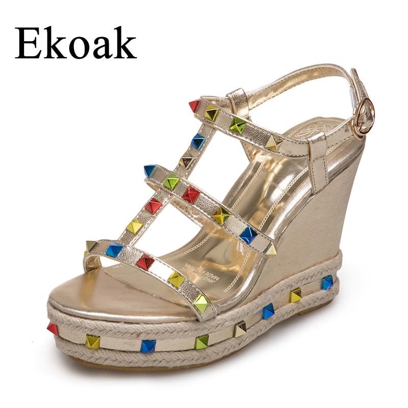 Ekoak New 2018 Summer Rivets Women Sandals Fashion Super High Heels Women Gladiator Sandals Wedges Platform Shoes Woman 2017 new women gladiator sandals bohemia fashion girls platform sandals casual summer shoes woman wedges beach sandals 7778w