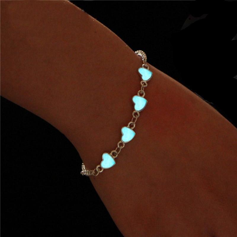 Summer Luminous Ankle Heart Star Pendant Bracelet Sandal Sexy Beach Leg Chain Women Anklets Jewelry