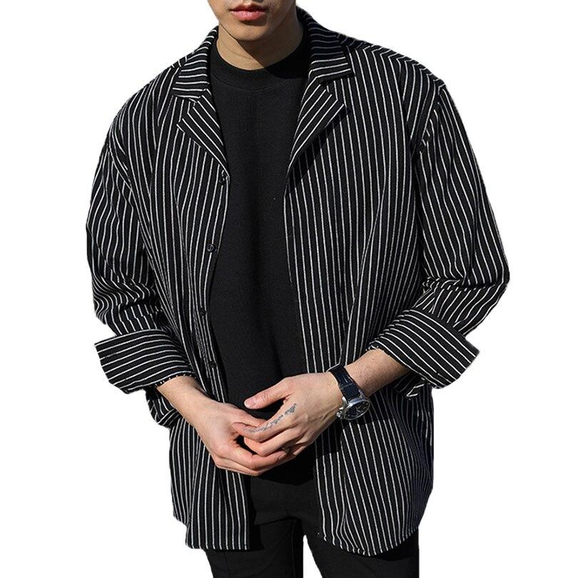 28decdbe065 Oversized Striped Shirt Men Long Sleeve Camisa Listrada Masculina Korean  Male Fashion Classic Black Shirt Social Masculino-in Casual Shirts from  Men's ...