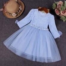Fille Robe 2017 Filles Printemps Robe Enfants Robes Taille Haute princesse Filles Dentelle Robe Enfants Vêtements avec Perles Arc Bleu 3-10Y
