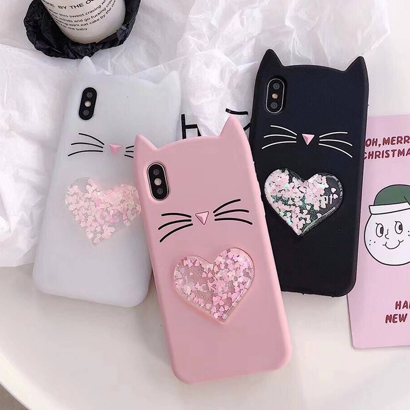3D Cartoon Beard Cat Cover For OPPO R9S Case Soft Silicone Liquid Heart Quicksand Cases For OPPO R9 R9S R11 R11S Plus R15 Coque