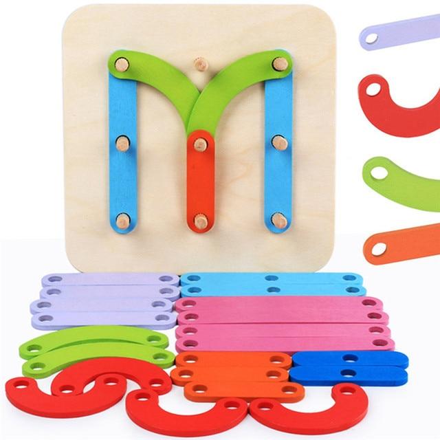 Geometric Column Set Digital Number Alphabet Letter Chinese Shape Animal Wooden Puzzle Game Educational Toys Kids