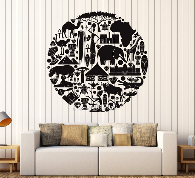 African Animal Ethnic Style Wall Stickers Vinyl Art Africa Sticker Artistic Design Wall Decal Home Decor
