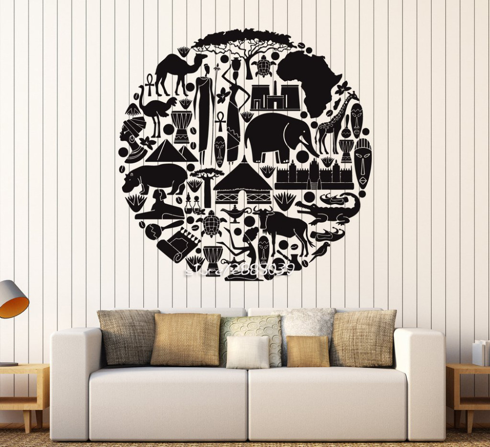 African Animal Ethnic Style Wall Stickers Vinyl Art Africa Sticker Artistic  Design Wall Decal Home Decor Removable Mural SA874