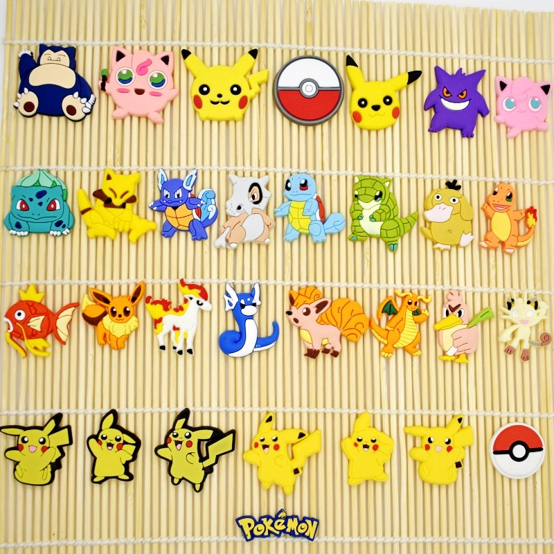 10PCS Pokemon Go Flatback Soft PVC DIY Craft For Wristband/Clog/Phone Case/Keychain/Bookmark/Glasses Kid Boys Party Gift