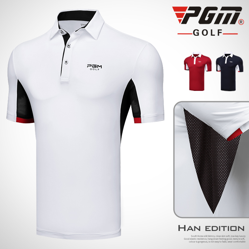 PGM 2018 new mens Golf Sportswear short-sleeved Button collar T-shirt summer sports breathable and quick-drying golf polo shirt
